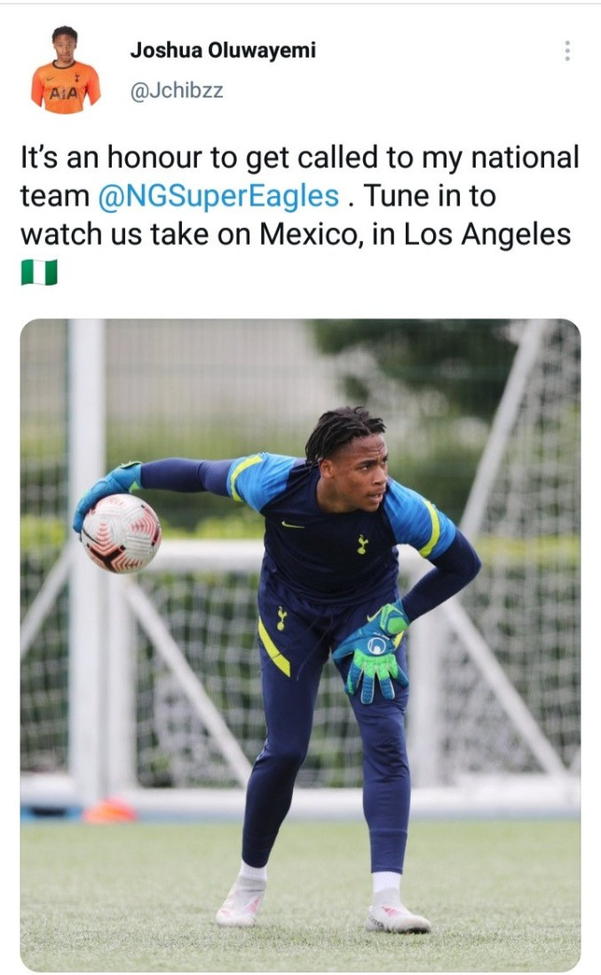 """""""It's an honour to get called by Nigeria"""" - Former England youth goalkeeper, Joshua Oluwayemi"""