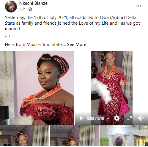 No bride price was paid and I did not kneel down to give him a drink - Facebook feminist, Nkechi Bianze says as she shares photos from her wedding 1