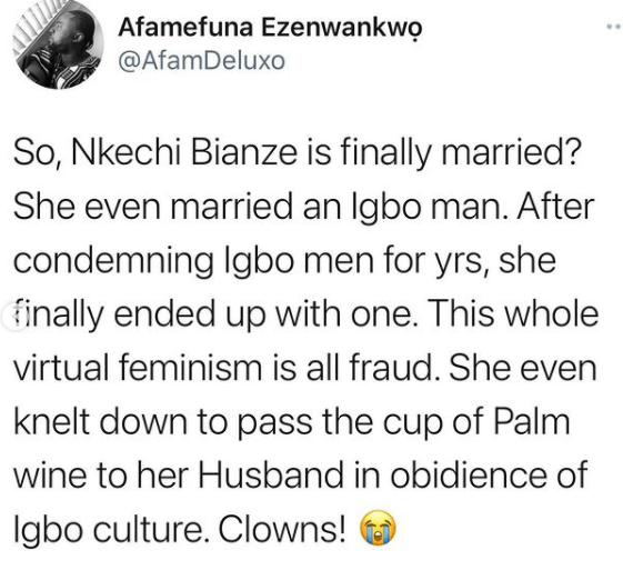 No bride price was paid and I did not kneel down to give him a drink - Facebook feminist, Nkechi Bianze says as she shares photos from her wedding 5