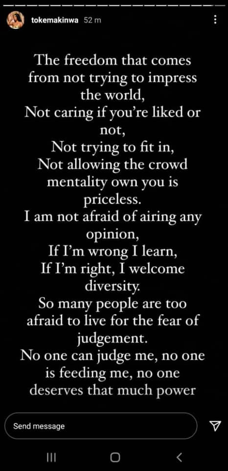 I'm not afraid of airing my opinion if I'm wrong I learn - Toke Makinwa 1