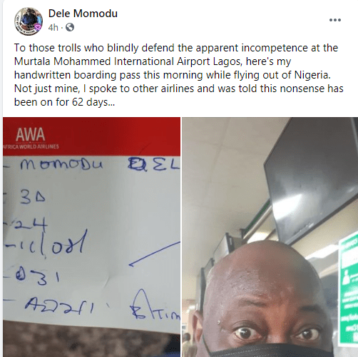 I was given handwritten boarding pass and it has been on for 62 days - Dele Momodu slams those 'defending incompetence at Murtala Mohammed International Airport'