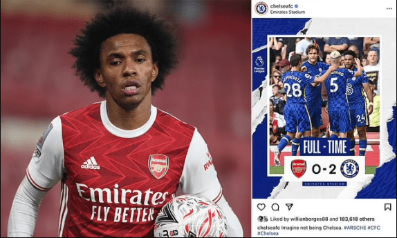 'Terminate his contract!': Arsenal fans rage as Willian appears to like Chelsea Instagram post reporting his former club's 2-0 victory over the Gunners