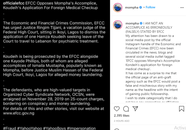 I am not an accomplice - Mompha replies EFCC 1