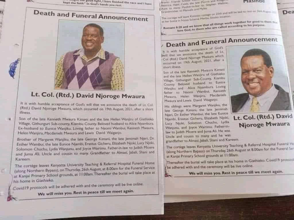"""Two separate obituaries of a Kenyan man published in same newspaper recognizing 2 widows while the other describes one as """"ex-wife"""""""