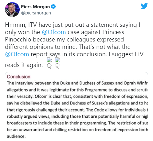 Piers Morgan slams ITV after the TV station said it won't take him back