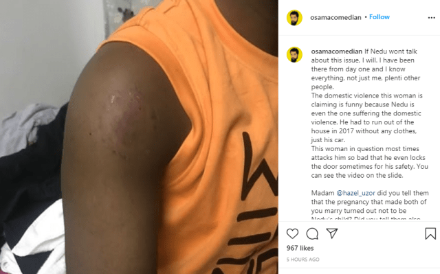 Nedu suffered the domestic violence and the pregnancy that led to your marriage wasn't his - Comedian Osama defends OAP after ex-wife called him out for domestic violence