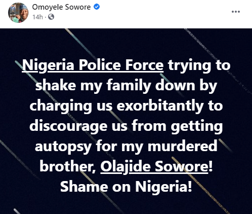 Nigeria Police Force trying to shake my family down - Sowore alleges  1