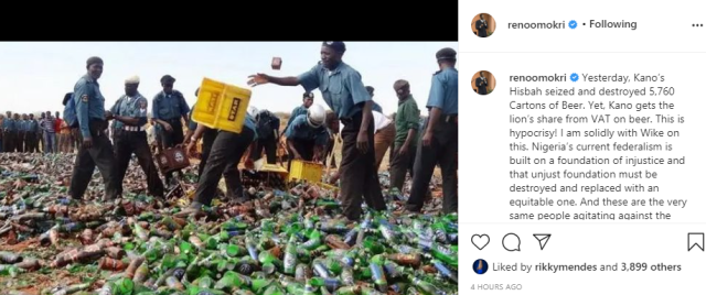 Kanos Hisbah seized and destroyed 5,760 cartons of beer, yet Kano gets the lions share from VAT on beer - Reno Omokri