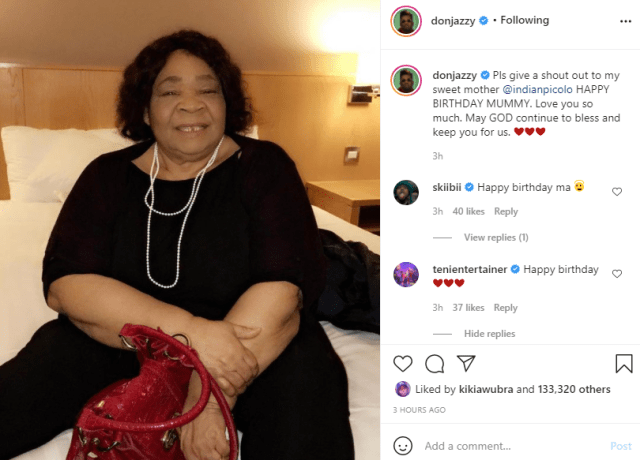 Don Jazzy celebrates his mother on her birthday  1