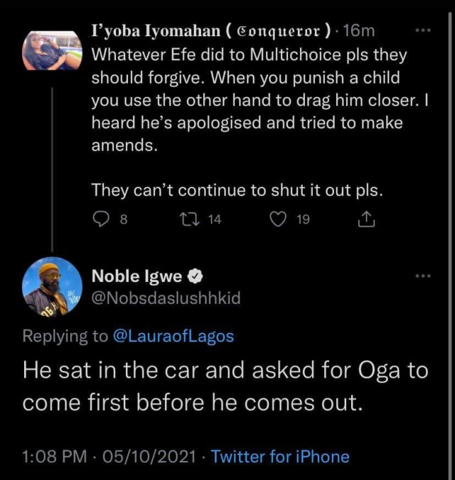 Noble Igwe explains why organizers of BBNaija allegedly blacklisted Efe after he won the reality show  1