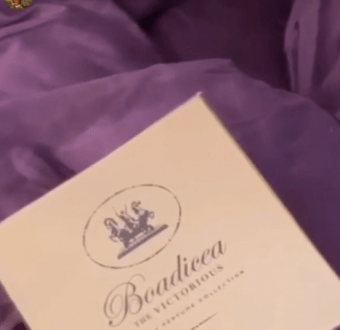 Toke Makinwa shows off the £1000 (460k) perfume she received from a secret admirer