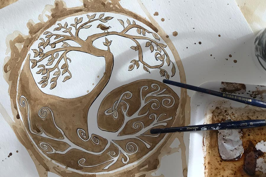 celtic yin yang tree paintined in coffee