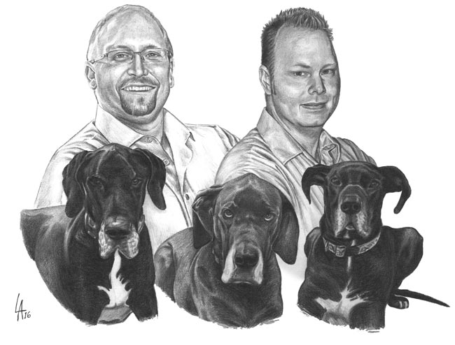 family portrait with their dogs pencil drawing