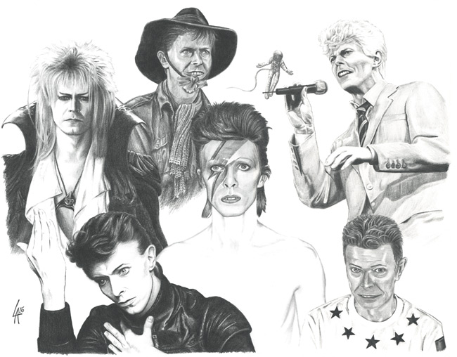 hand drawn portrait of David Bowie