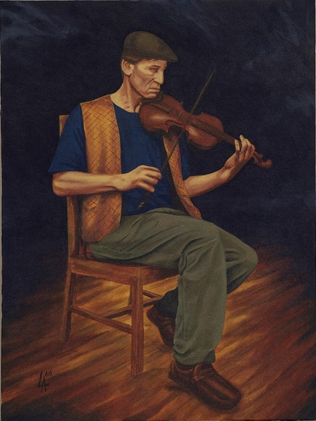 """PASSIONATE FIDDLER - Musician Series, acrylic painting on 18"""" x 24"""" gallery canvas"""