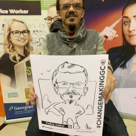 live caricature drawing at Georgian College event