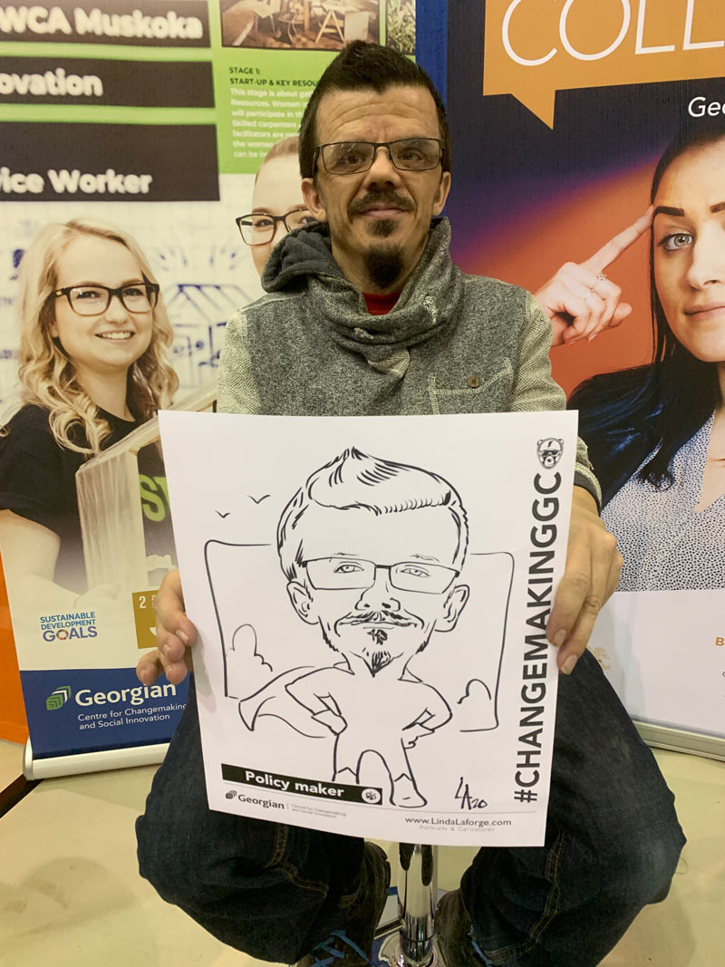 caricatures drawn at Georgian College conference