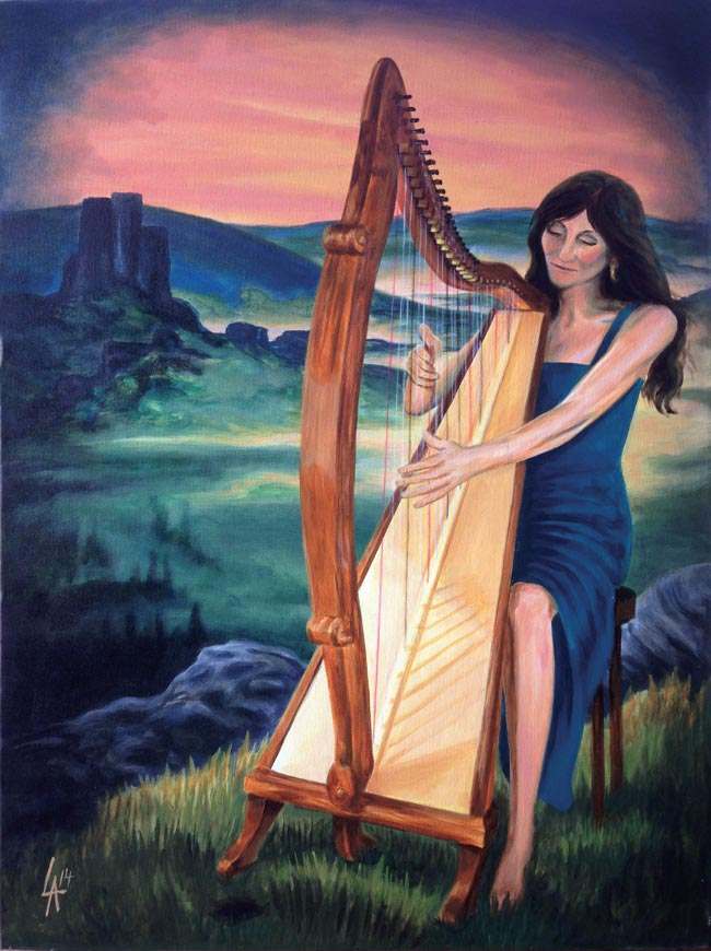 """Lady HARPIST - Musician Series, acrylic painting on 18"""" x 24"""" gallery canvas"""