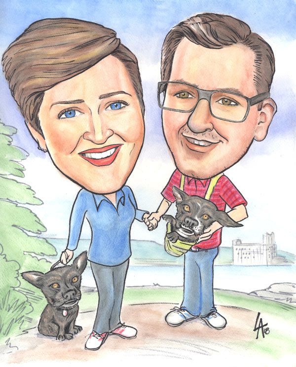full colour caricature painting