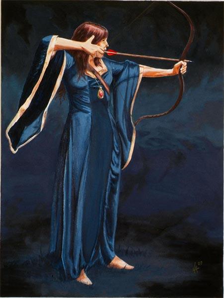"Medieval lady ARCHER, original art, oil painting on 24"" x 36"" canvas"