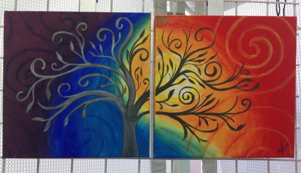 """Soul Trees, set of two 10"""" x 10"""" square acrylic paintings"""