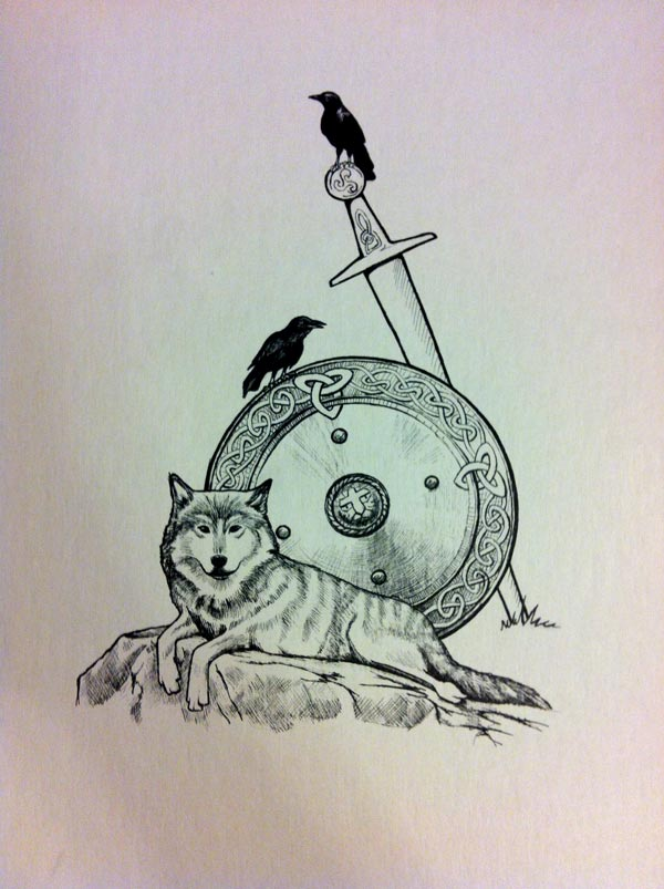Illustration commissioned for a tattoo, with wolf, warrior shield, ravens
