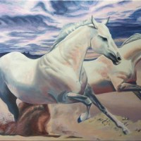 """WILD & FREE, acrylic painting of horses on 24"""" x 36"""" gallery canvas"""