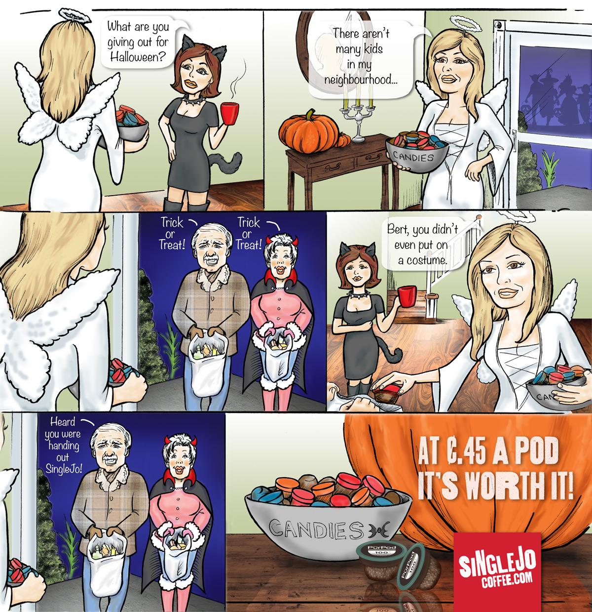 SingleJoCoffee colour comic strip commission