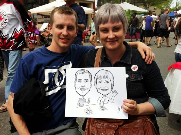 Caricature of couple at Promenade Days in Barrie