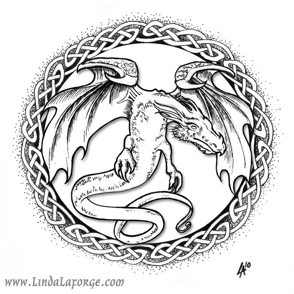 Winged dragon illustration in round frame