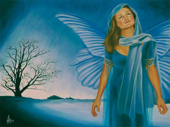"""Original acrylic painting of a winter fairy on 18"""" x 24"""" gallery canvas"""