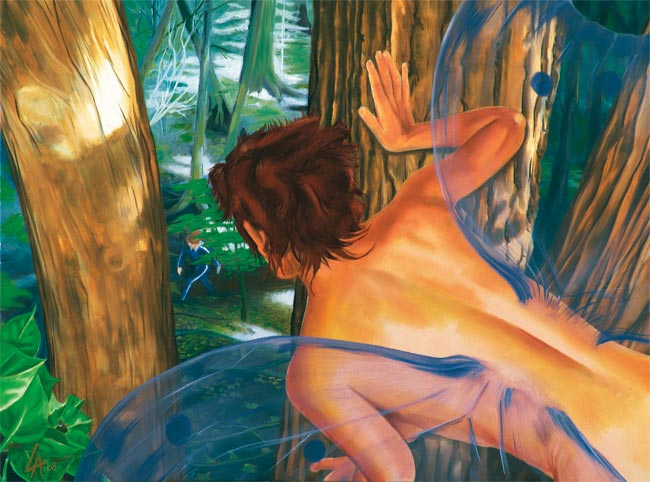 """Original acrylic painting of a fairy watching people in her forest on 18"""" x 24"""" gallery canvas"""