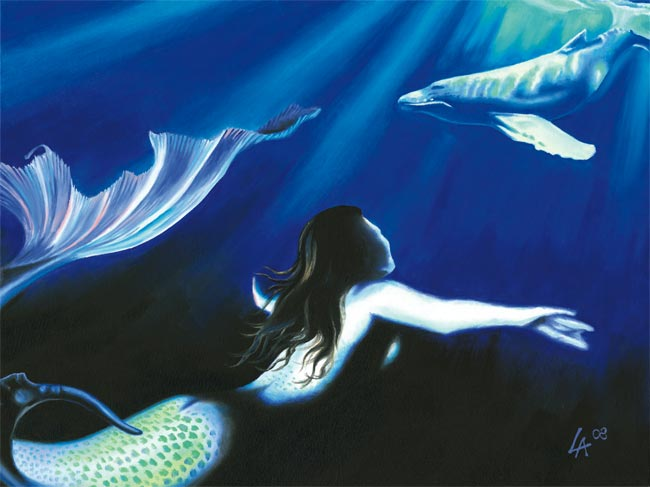 """Original acrylic painting of a mermaid watching a whale on 18"""" x 24"""" gallery canvas"""