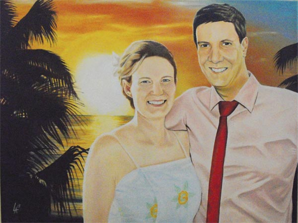 "Wedding Couple, Portrait One - acrylic on gallery a8"" x 24"" gallery canvas"
