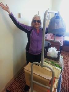 Jubilant moving producer arrives at destination.