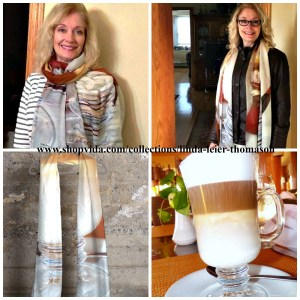 Bonnie modeling her Coffee Cashmere Modal Scarf.