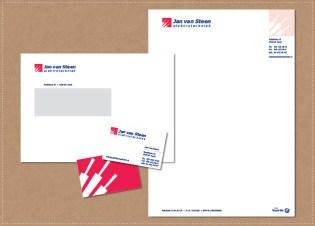 ontwerp huisstijl logo visitekaartje briefpapier envelop Jan van Steen Elektrotechniek