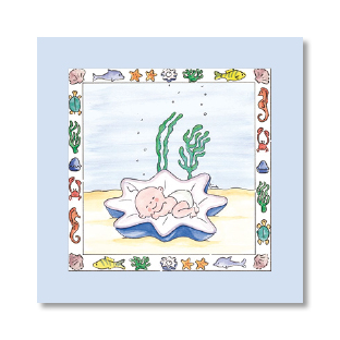 ontwerp illustratie aquarel geboortekaartje
