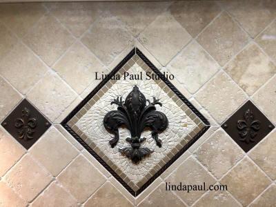 fleur de lis tile kitchen backsplash