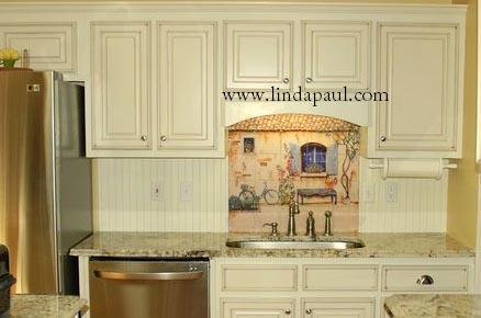 French Country Tile Backsplash. modern wood kitchen table blue ...