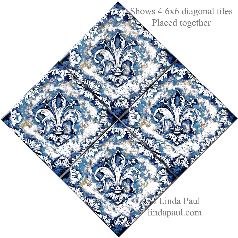 fleur de lis 12 x 12 ceramic tile diagonal accent by artist linda paul