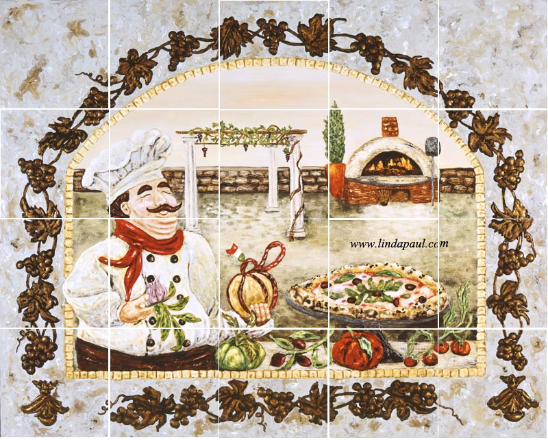 Italian Pizza Kitchen Tile Backsplash   Tuscan Decorating ideas Italian Pizza Kitchen Tile Backsplash Mural by artist Linda Paul