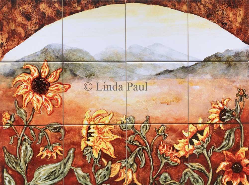 sunflower field ceramic tile mural