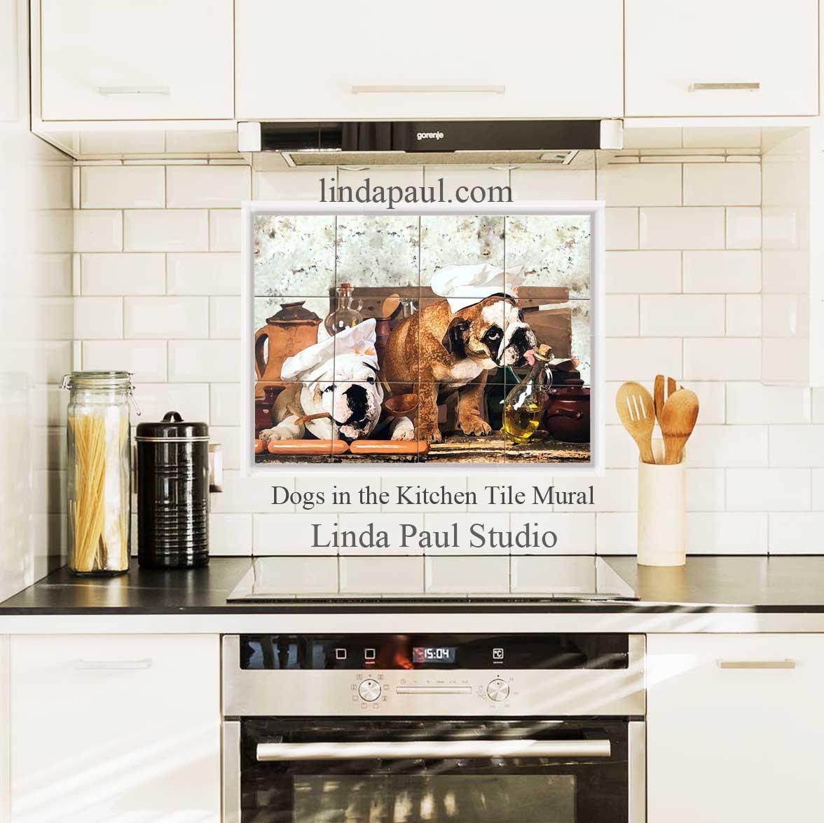 dogs in the kitchen custom dog tile mural and cutting boards dog backsplash art