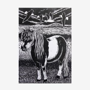Mother and cub in the Voe - Linocut