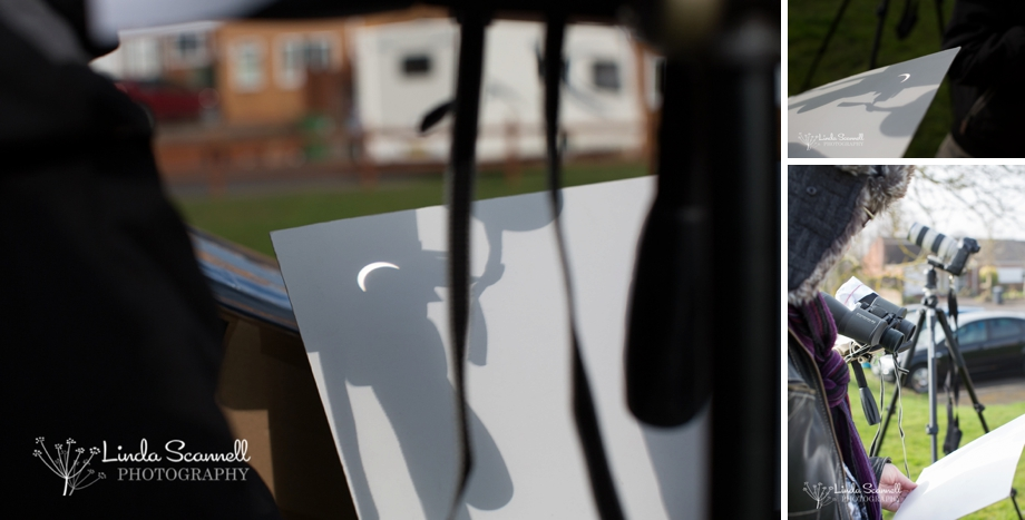 Solar eclipse 2015 projected onto card using binoculars | Linda Scannell