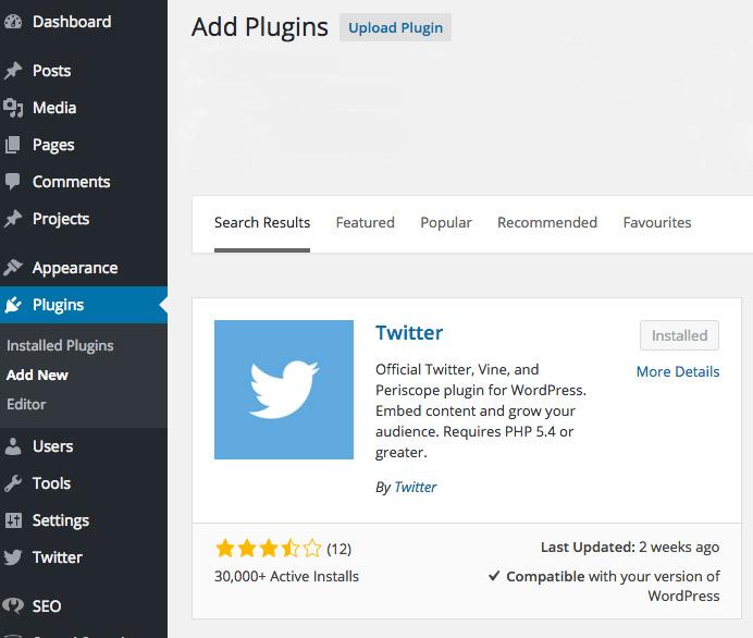 Twitter plugin for WordPress