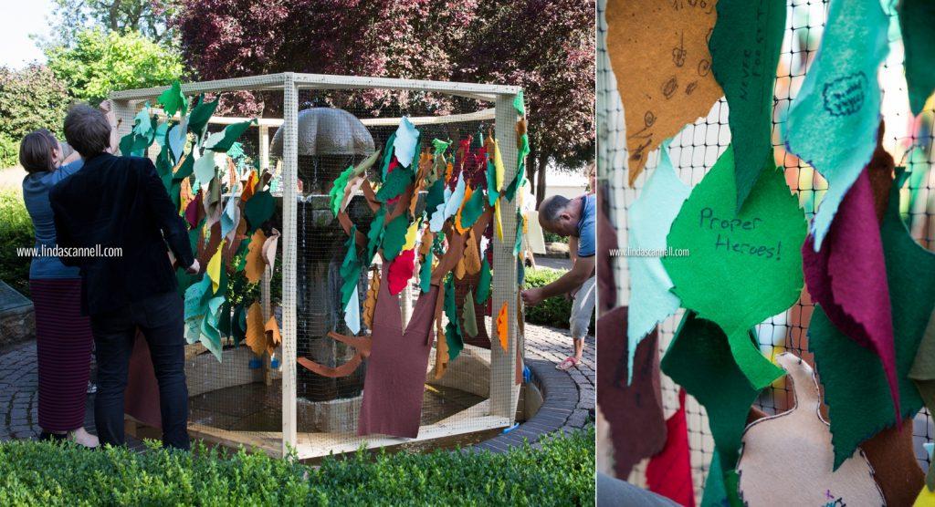 Camouflaging the Czech Memorial Fountain, Jephson Gardens | Art in the Park 2016 | Leamington Spa