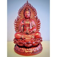 Groot Kwan Yin beeld rood 54 cm