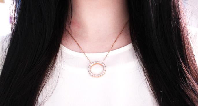 Michael kors necklace ketting goudkleurig met hanger, rosé goud, steentjes, MK, review,
